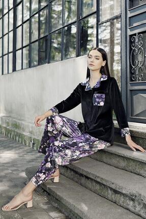 Artış Kadın Siyah Desenli Kadife Pijama Takım 9216