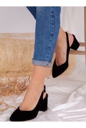 ayakkabıhavuzu Kadın Siyah Süet Topuklu Ayakkabı