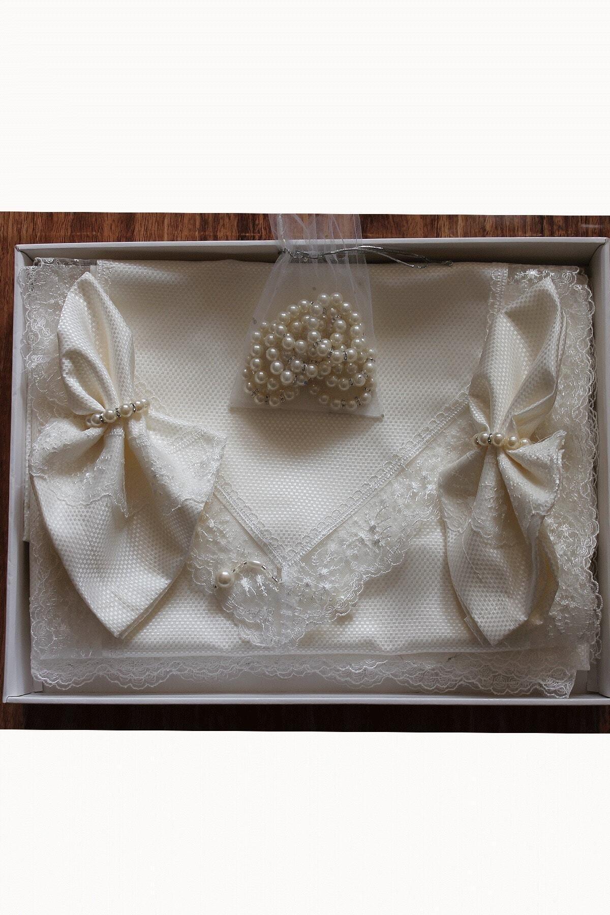Estelica Kırık Beyaz Pitikare Masa Örtüsü Takımı 12 Kişilik 26 Parça 160x260 cm 1