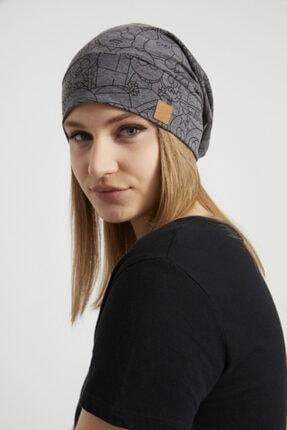 Butikgiz Kadın Füme Ip Detaylı Özel Tasarım 4 Mevsim Şapka Bere Buff -ultra Yumuşak Doğal Penye Kumaş