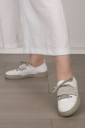 Marjin Kadın Beyaz Gümüş Sneaker Spor Ayakkabı Noni