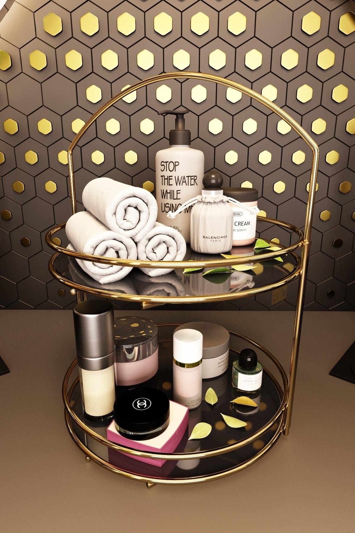 Bino Banyo Düzenleyici Organizer Takı Kozmetik Havlu Rafı Standı 2 Katlı 40cm 2