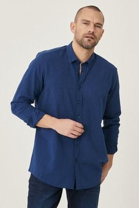 AC&Co / Altınyıldız Classics Erkek Lacivert Tailored Slim Fit Dar Kesim Düğmeli Yaka Keten Gömlek
