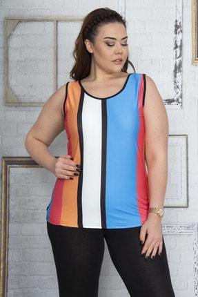 Şans Kadın Renkli Kolsuz Bluz 65N22888