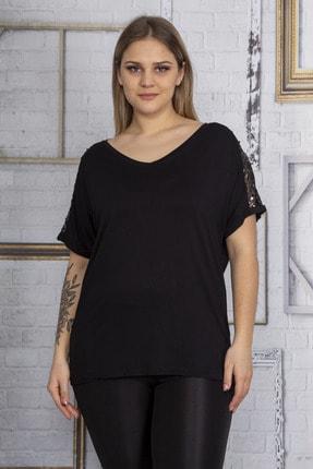 Şans Kadın Siyah Omuzları Tül Payet Detaylı Bluz 65N22861