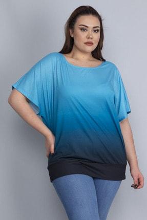 Şans Kadın Turkuaz Batik Desenli Düşük Kol Etek Ucu Bantlı Bluz 65N22754