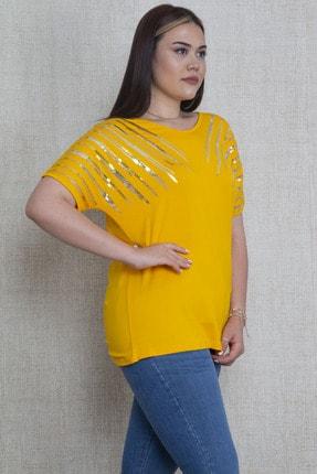 Şans Kadın Hardal Payet Detaylı Viskon Bluz 65N22908
