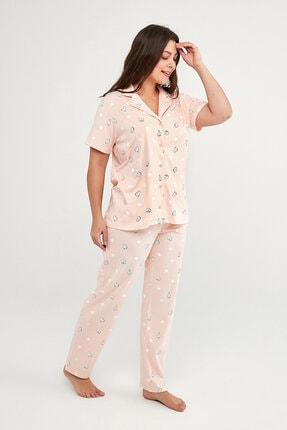 Penti Kadın Pembe Kedi ve Dots Gömlek Pijama Takımı