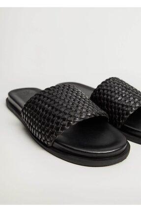 MANGO Man Erkek Siyah Deri Örgü Sandalet