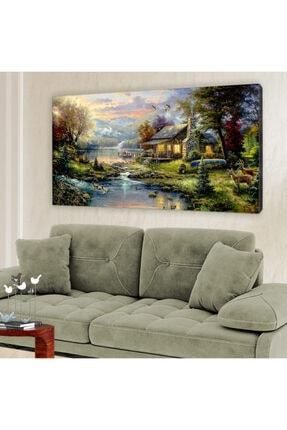 hanhomeart Orman Evi Göl Yağlı Boya Görünüm Kanvas Tablo 60x120cm