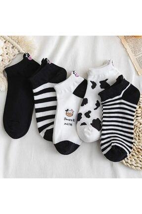 çorapmanya Kadın Siyah Beyaz İnek Desenli Nakışlı Patik Çorap 5 Çift