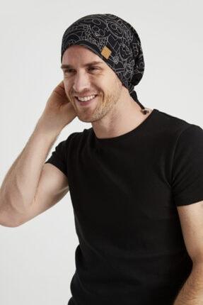 Butikgiz Erkek Siyah, Beyaz Desenli, Ip Detaylı 4 Mevsim Şapka Bere Buff -ultra Yumuşak Doğal Penye Kumaş