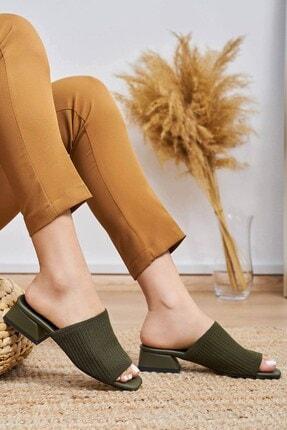 Mio Gusto Kadın Yeşil Karen Triko Topuklu Terlik