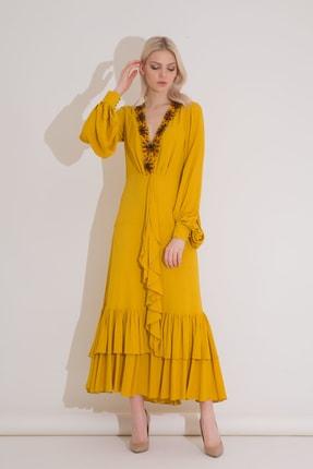 xGIZIA Yaka Işlemeli Safran Rengi Fırfırlı Uzun Elbise