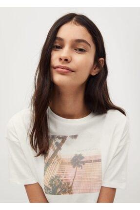 MANGO Kids Kadın Beyaz Organik Pamuklu Desenli Tişört