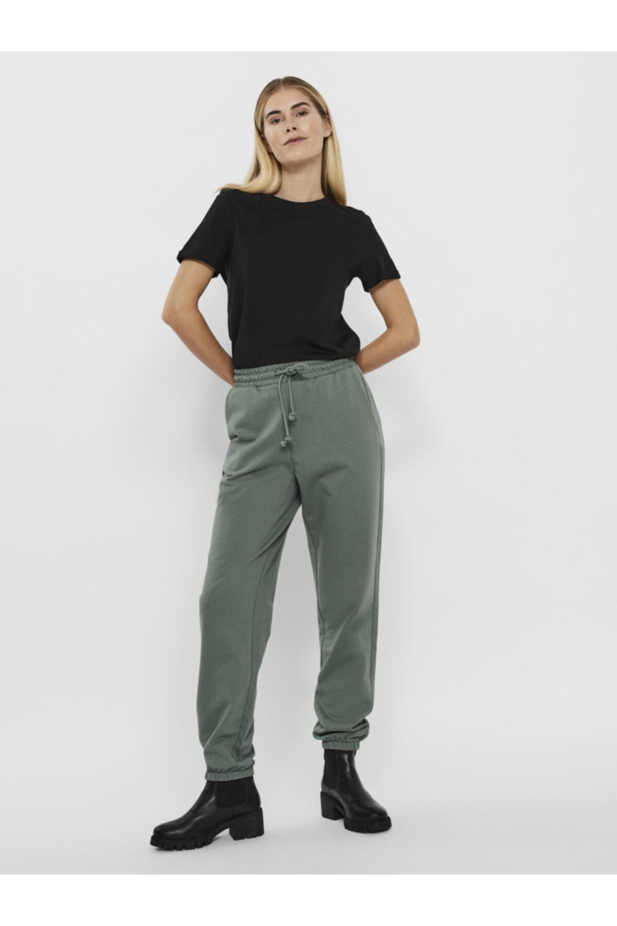 Vero Moda Kadın Yeşil Paçası Lastikli Yüksek Bel  Pantolon 1