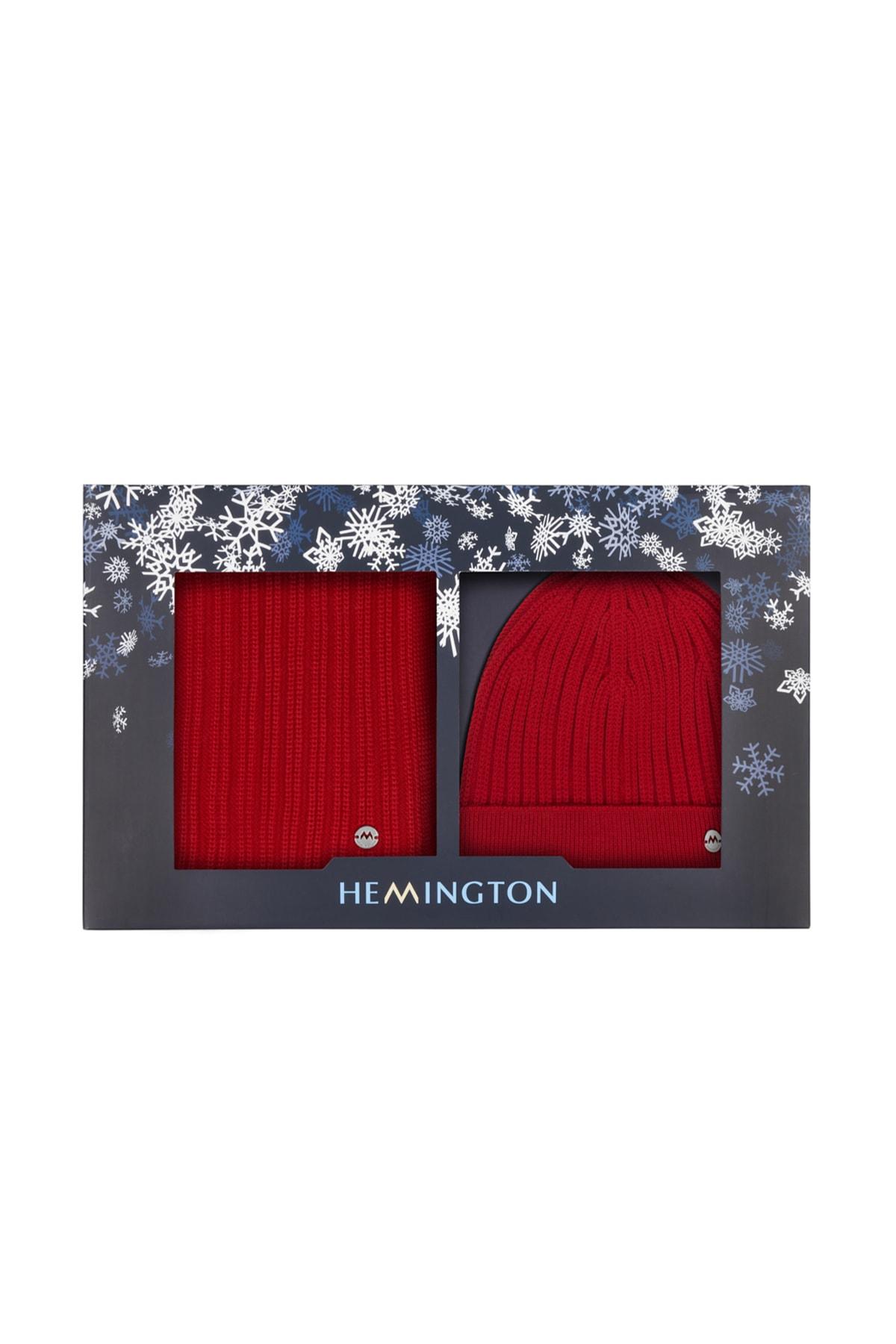 Hemington Erkek Kırmızı Yün Atkı 2