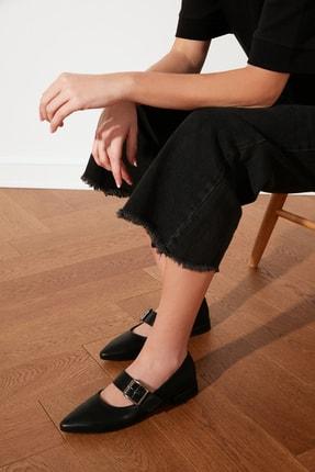 TRENDYOLMİLLA Siyah Tokalı Kadın Babet TAKSS21BE0008