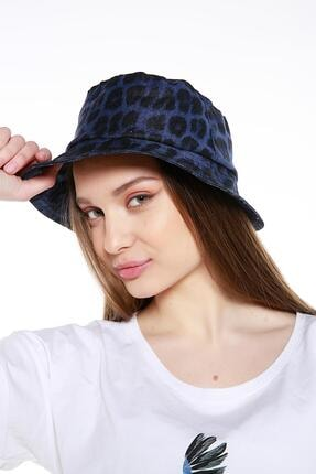 Y-London 14006 Leopar Desenli Mavi Bucket Şapka