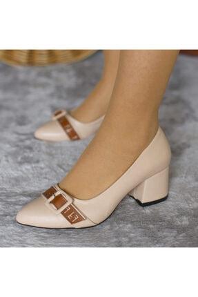 Caprito Kadın Ekru Kemerli Yumurta Topuklu Ayakkabı