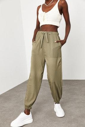 XENA Kadın Haki Jogger Keten Pantolon 1KZK8-11501-09