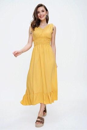 By Saygı Kadın Sarı Beli Lastikli Alt Fırfırlı Boncuklu Elbise S-20Y0250015