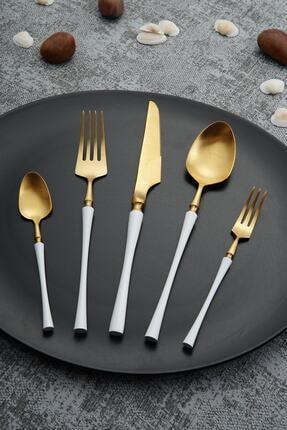 ACAR Beyaz Paslanmaz Çelik 30 Parça Çatal Kaşık Bıçak Takımı