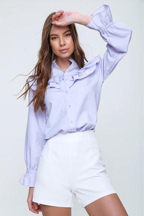 Trend Alaçatı Stili Kadın Lila Hakim Yaka Fırfırlı Poplin Bluz ALC-X6098