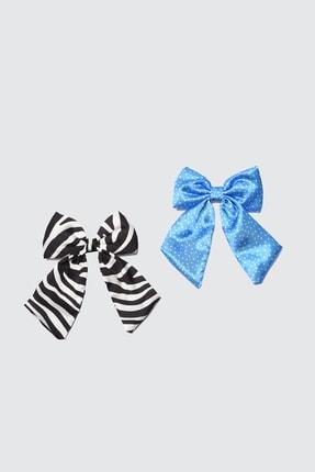 TRENDYOLMİLLA Mavi-Çok Renkli Çiçekli 2'li Paket Fiyonk Klipsli Toka TWOSS21TK0002