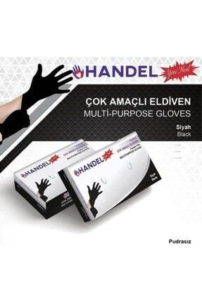 HANDEL 10 Paket 100´lü Pudrasız Eldiven Siyah/m Lateksdeğildir