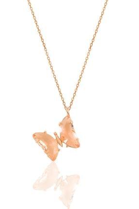 Söğütlü Silver Gümüş Rose Somon Renkte Tasarım Kelebek Kolye