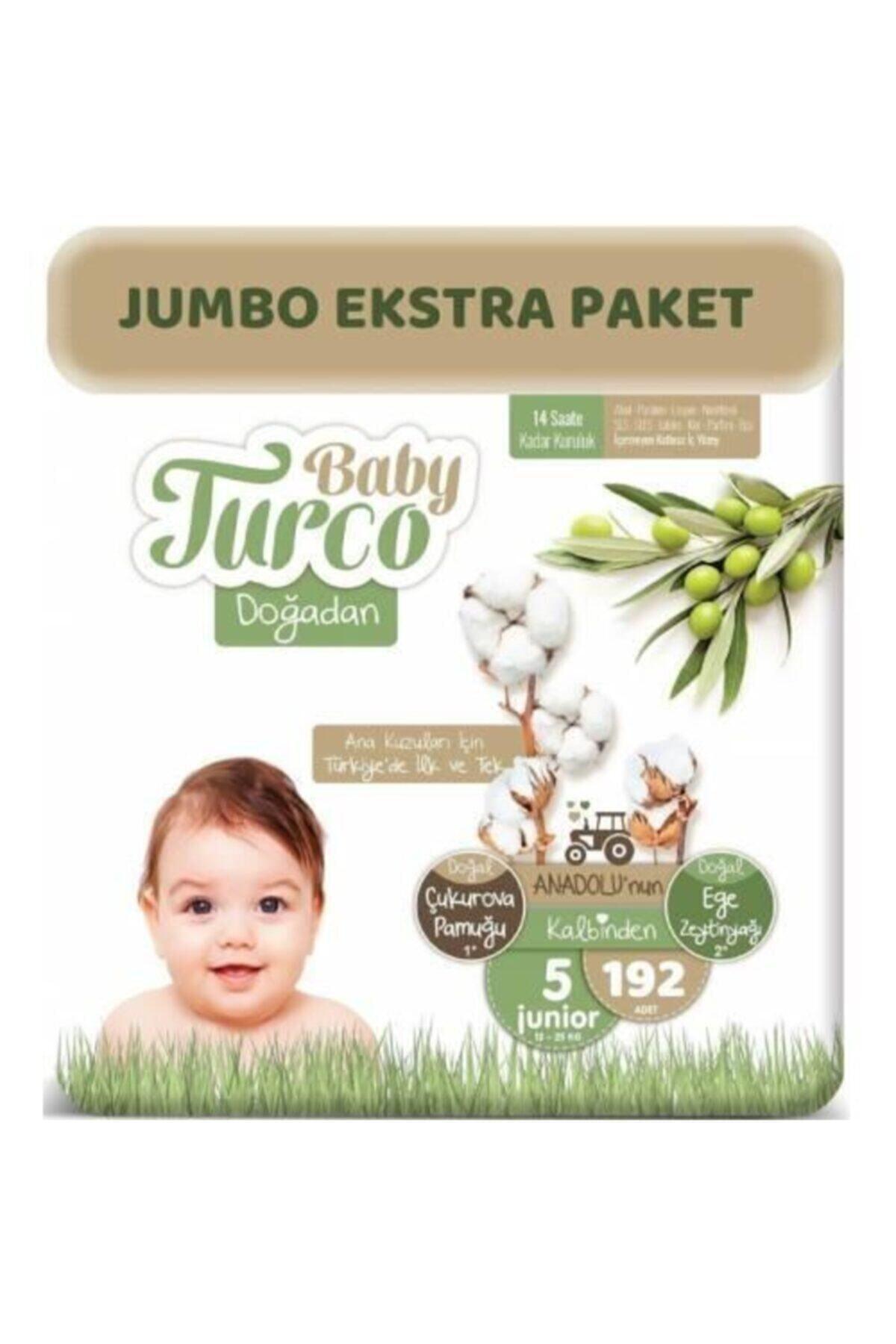 Baby Turco Doğadan Bebek Bezi 5 Beden 192 Adet 12 - 25 kg + 10 ml Pişik Kremi 1