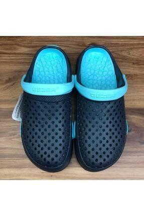 GEZER Turkuaz-siyah Unisex Kapalı Sabo Cross Sandalet Terlik