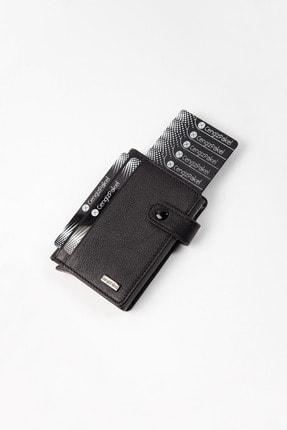 CENGİZ PAKEL Hakiki Deri Mekanizmalı Siyah Kartlık-cüzdan