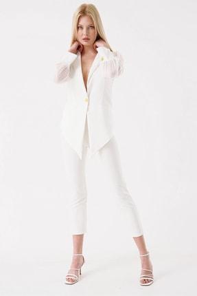 Modakapimda Kadın Beyaz Tasarım Ceket Pantolon Takım