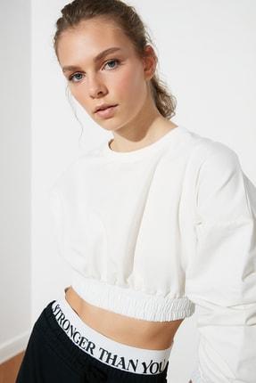 TRENDYOLMİLLA Ekru Crop Örme Sweatshirt TWOSS21SW0227