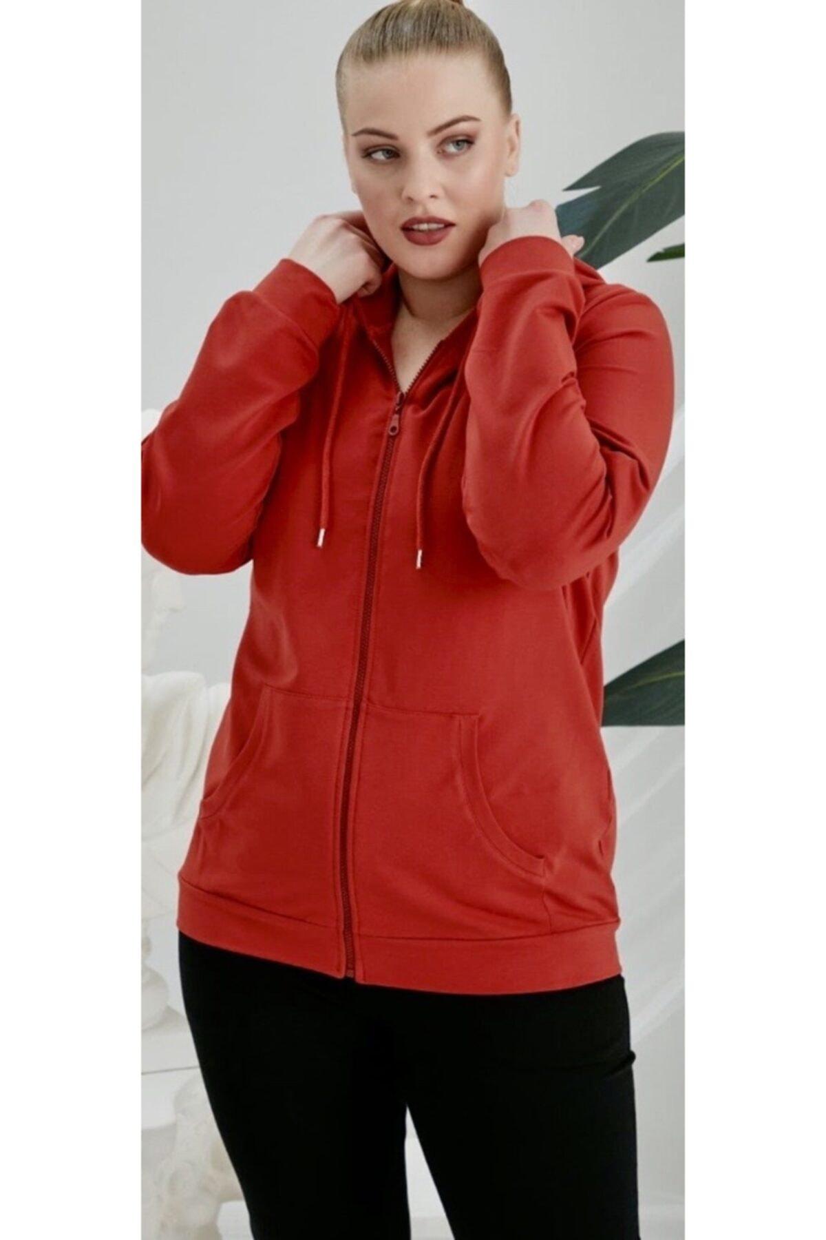 RMG Kadın Kırmızı Büyük Beden Fermuarlı Kapüşonlu Sweatshirt 1