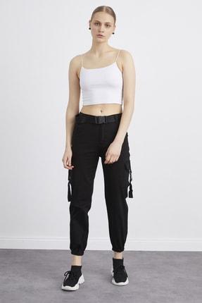CB Mağazacılık Kadın Siyah Kemer Detaylı Kargo Pantolon