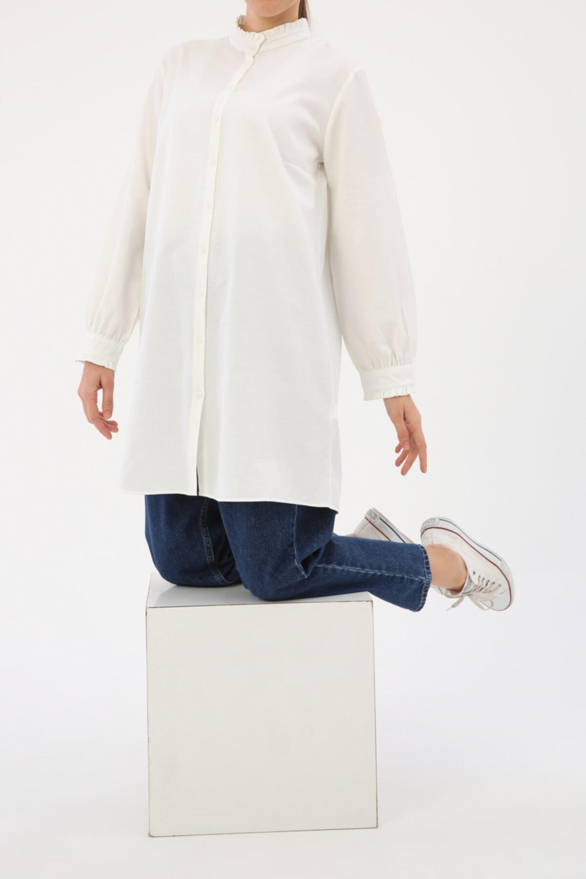ALLDAY Ekru Yaka Ve Kol Fırfırlı Gömlek Tunik 1