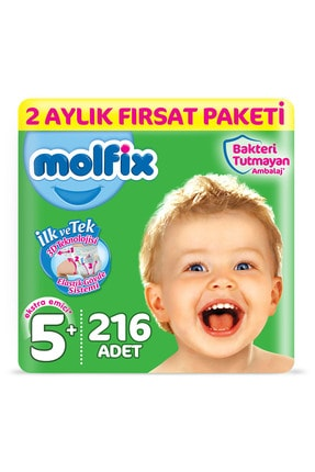 Molfix Bebek Bezi 5+ Beden Junior Plus 2 Aylık Fırsat Paketi 216 Adet
