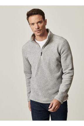 AC&Co / Altınyıldız Classics Erkek Gri Standart Fit Günlük Rahat Fermuarlı Bato Yaka Spor Polar Sweatshirt