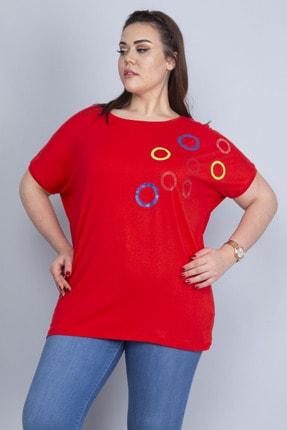 Şans Kadın Kırmızı Taş Detaylı Düşük Kol Viskon Bluz 65N22724