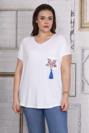 Şans Kadın Beyaz Cebi Nakış Detaylı Düşük Kol Viskon Bluz 65N22716