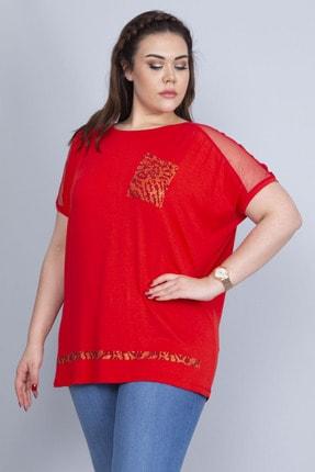 Şans Kadın Kırmızı Omuzları Tül Süs Cep Ve Etek Ucu Taş Detaylı V Yakalı Düşük Kol Viskon Bluz 65N22723