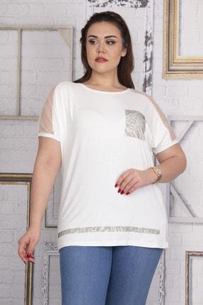 Şans Kadın Kemik Omuzları Tül Süs Cep Ve Etek Ucu Taş Detaylı V Yakalı Düşük Kol Viskon Bluz 65N22723