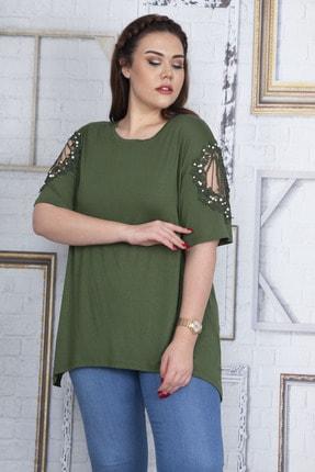 Şans Kadın Haki Dantel Ve İnci Detaylı Viskon Bluz 65N22725