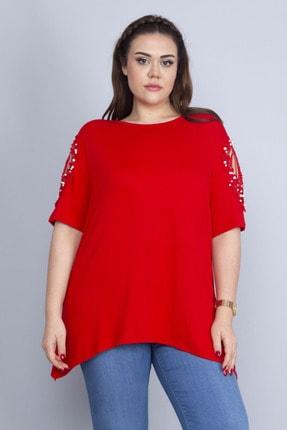 Şans Kadın Kırmızı Dantel Ve İnci Detaylı Viskon Bluz 65N22725