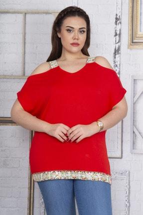 Şans Kadın Kırmızı Omuz Dekolteli Askı Ve Etek Ucu Payet Dantel Detaylı Bluz 65N22701