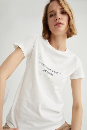 DeFacto Kadın Ekru Slogan Baskılı Pamuklu Relax Fit Kısa Kollu Tişört