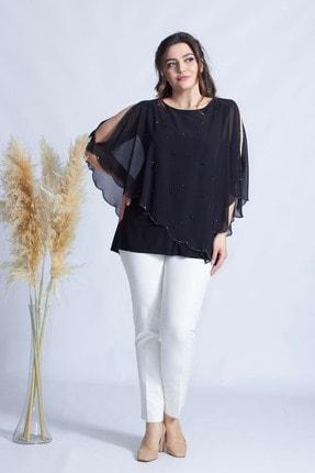 Moda Berray Kadın Siyah Taşlı Pelerinli Şifon Bluz